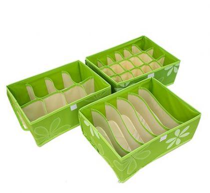 Комплект из 3х органайзеров  с крышкой Премиум, зеленый