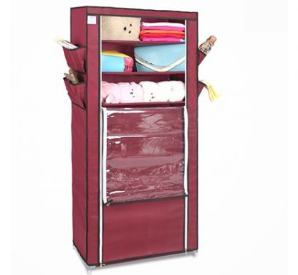Тканевый шкаф для обуви и аксессуаров Элис, бордовый
