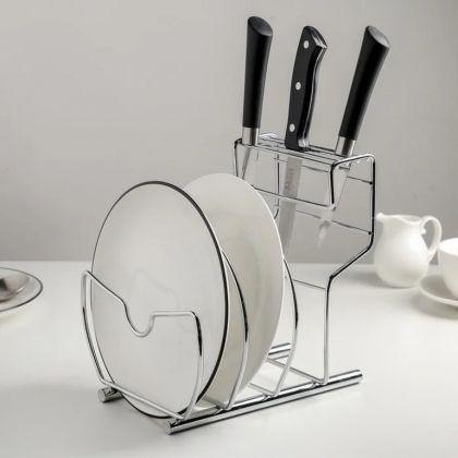 Подставка для ножей, крышек и разделочных досок, хром, 21 x 18,5 x 21,2 см