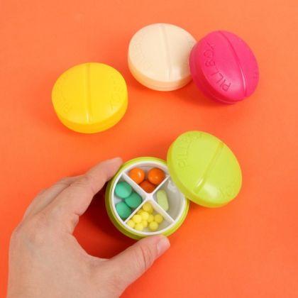 Органайзер для таблеток круглый на 4 приема, 6,5 x 3 см