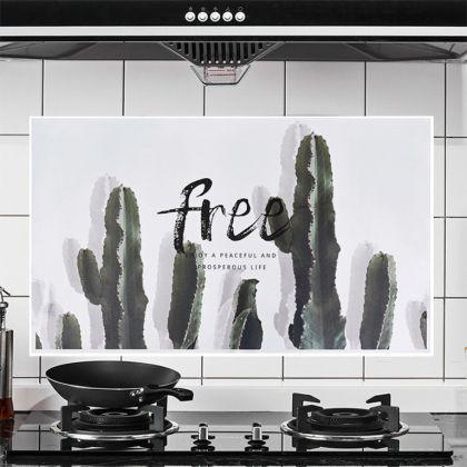 Наклейка жироотталкивающая для кухни «Cactus», серый, 75 x 45 см