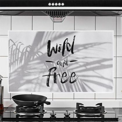 Наклейка жироотталкивающая для кухни «Wild and Free», белый, 75 x 45 см