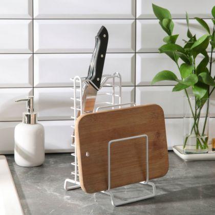 Подставка для ножей и разделочных досок, белый, 15 x 10,5 x 23 см