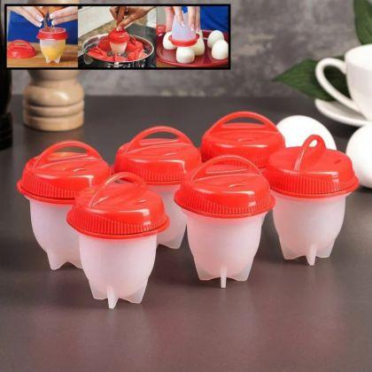 Набор контейнеров для варки яиц без скорлупы, 6 шт, красный, 6,5 x 9 см