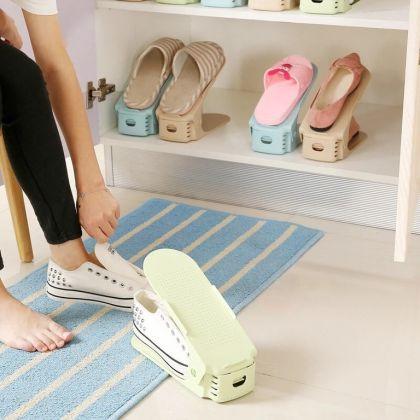 Подставка для обуви на одну пару, модель 1, белый, 25 х 9 х 10-18 см
