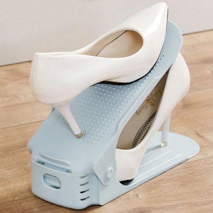 Подставка для обуви на одну пару, модель 1, голубой, 25 х 9 х 10-18 см
