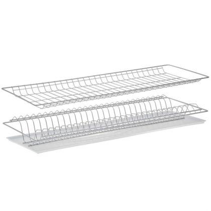 Комплект посудосушителей для шкафа, с поддоном, хром, 76 x 25,6 x 9 см