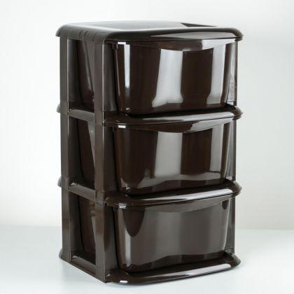 Комод «Cozy», 3 секции, коричневый, 35,5 x 35,5 x 56 см