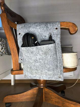 Перекидной органайзер с 2 карманами, фетр, серый, 66 x 26 см