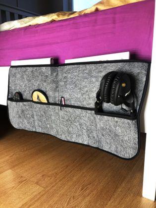 Органайзер навесной на кровать, фетр, серый, 65 х 50 см
