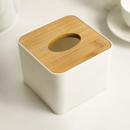 Салфетница «Soft», бамбук, белый, 11 x 11 x 8,5 см