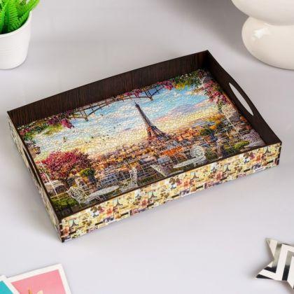 Поднос с ручками «Париж», деревянный, 30,4 х 20,4 х 4,7 см