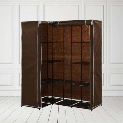 Тканевый шкаф «Угловой», коричневый, 130 x 45-87 x 169 см