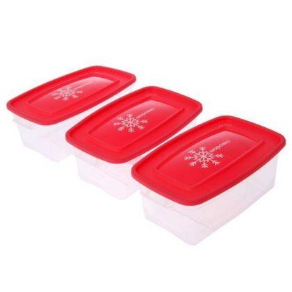 Набор контейнеров «Морозко» для замораживания продуктов, 1 л, 3 шт, 19 x 13 x 12 см