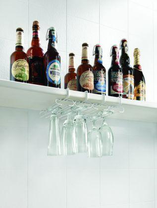 Подвесной держатель для бокалов, белый, 33 х 27 х 7 см
