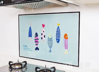 Наклейка жироотталкивающая для кухни «Fish», 90 x 60 см
