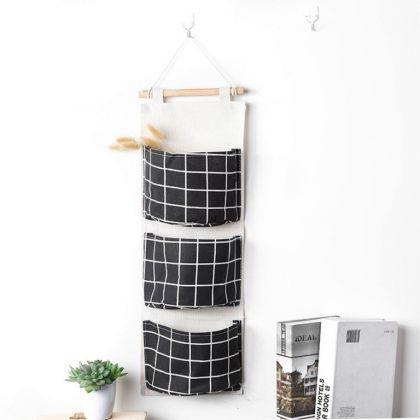 Карманы на стену «Клетка», черный, 58 x 20 см