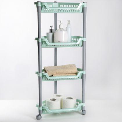 Этажерка напольная угловая четырехсекционная, на колесиках, 38 х 30 х 82 см