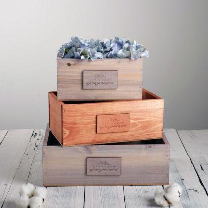 Набор деревянных ящиков 3 в 1 «Beauty» с плашкой, 30 x 25 x 20 см