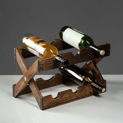Стеллаж винный «Rustic», массив сосны, коричневый, 40 х 30 см