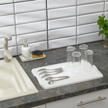Поднос для сушки посуды, со вкладышем, белый, 42,5 x 27 см