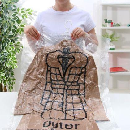 Вакуумный пакет с крючком для хранения вещей, прозрачный, 67 x 110 см