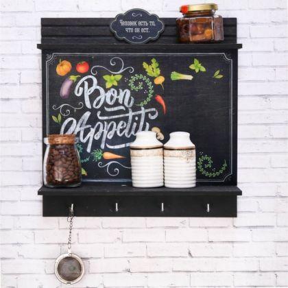 Полка для кухни «Bon Appetit», черный, 29,5 х 9,5 x 29 см