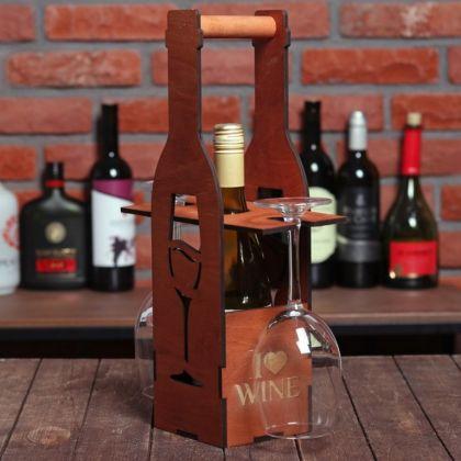 Ящик для вина «Бокал», коричневый, 11,6 х 11,6 х 41,5 см