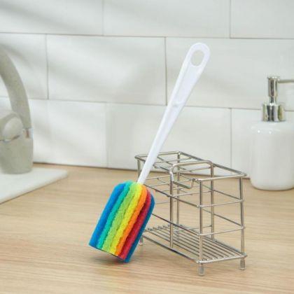 Ершик для посуды с абразивом «Rainbow», 25 x 4 см