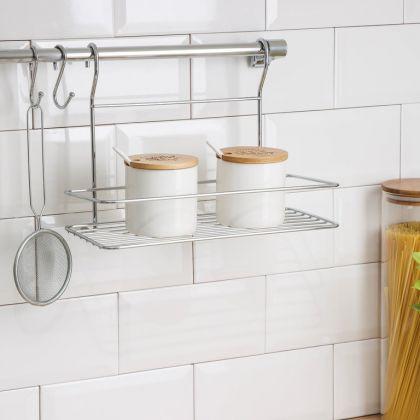 Рейлинговая система для кухни, 6 предметов, хром, 60 x 17 x 23 см