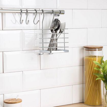 Рейлинговая система для кухни, 7 предметов, хром, 60 x 12 x 16 см