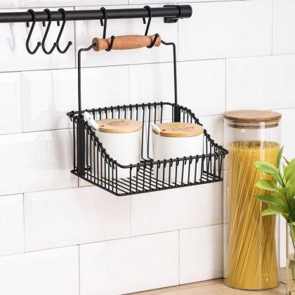 Рейлинговая система для кухни, 9 предметов, черный, 60 х 12 x 21 см