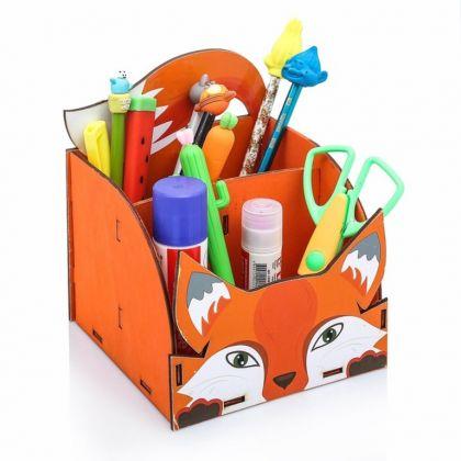 Органайзер для канцелярии «Fox», оранжевый, 14,5 х 14,5 x 17 см
