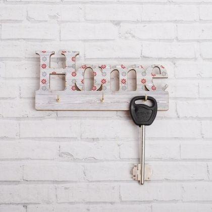 Ключница на 3 крючка, белый, 17 х 2 х 10 см