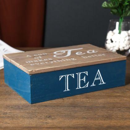 Шкатулка «Cup of tea», 6 ячеек, синий, 24 x 16,5 х 7 см