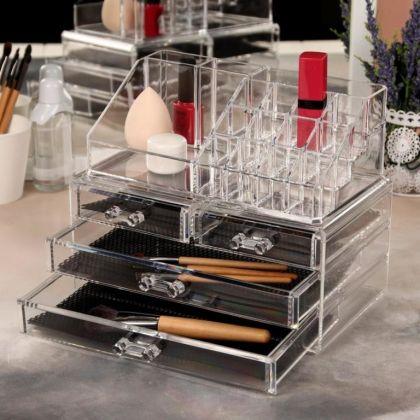 Органайзер для косметики на 20 секций с 4 ящиками, 19 х 14,3 х 23,5 см