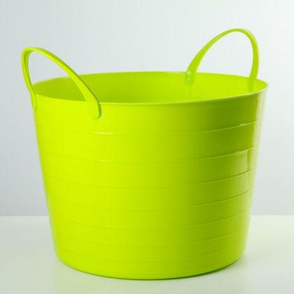 Корзина для белья круглая мягкая, 17 л, зеленый, 33 x 33 x 24,5 см