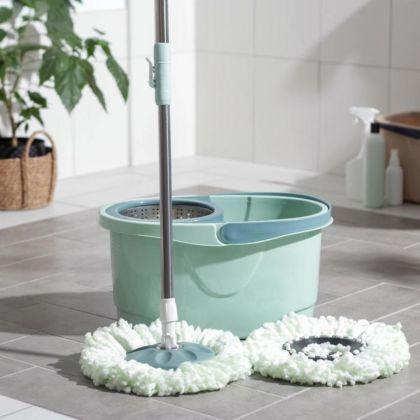 Набор для уборки: ведро на колесиках с металлической центрифугой 16 л, швабра, запасная насадка из микрофибры