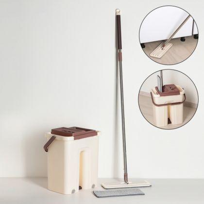 Набор для уборки: швабра плоская, ведро, дополнительная насадка из микрофибры, 21 л, коричневый