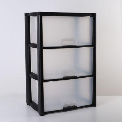 Комод трехсекционный «Лофт», черный, 50 x 30 х 72 см