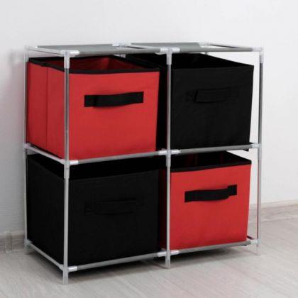 Стойка для хранения одежды, 4 короба, красно-черный, 60 x 29 x 60 см