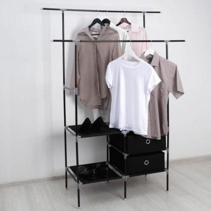 Стойка для вещей, 2 перекладины, 2 ящика, черный, 120 x 43 x 169 см