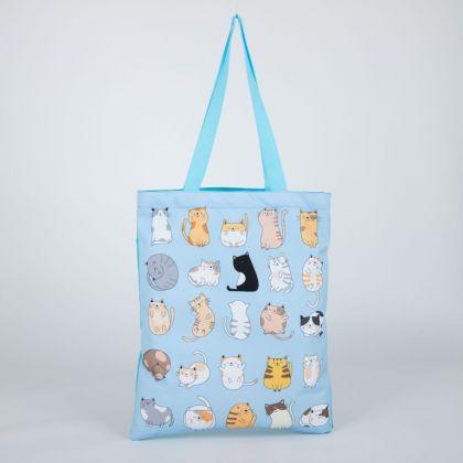 Сумка-шопер «Котики», без молнии, голубой, 35 х 0,5 х 40 см