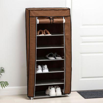 Тканевый шкаф для обуви, 7 ярусов, кофейный, 60 х 28 х 120 см