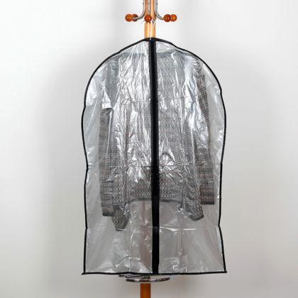 Чехол для одежды прозрачный, серый, 60 x 95 см