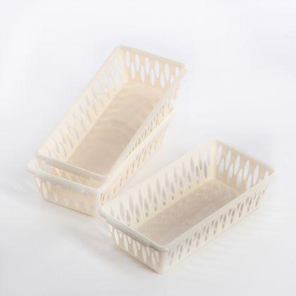 Набор корзинок «Light», 3 шт, слоновая кость, 19,5 x 10 x 5 см