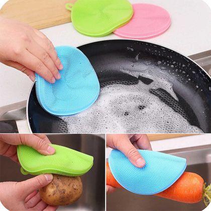 Щетка силиконовая для мытья посуды, овощей и фруктов «Round», 13 x 11,5 x 1 см