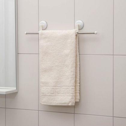 Держатель для полотенец на вакуумных присосках, белый, 50 х 3 х 8,5 см