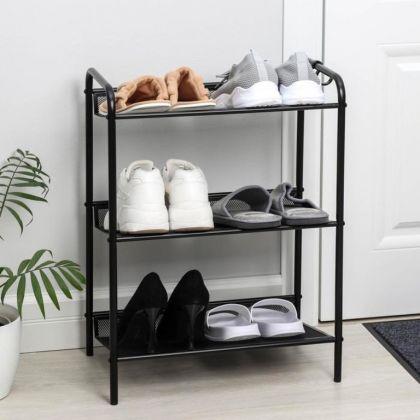 Подставка для обуви «Geneva», 3 полки, черный, 45 x 27 x 60 см