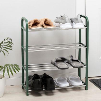 Полка для обуви на 4 яруса, зеленая, 50 x 19 x 60 см